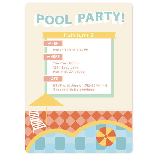birthday party invitations - Summer Pool Party by Rebecca Pierpoint