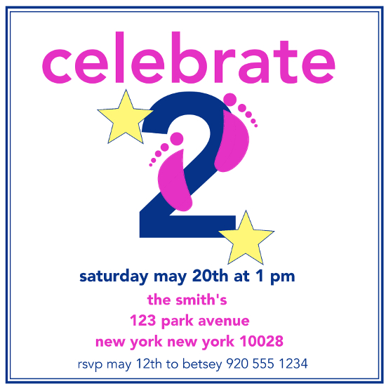 birthday party invitations - Celebrating Two by Jane CoCo Cowles