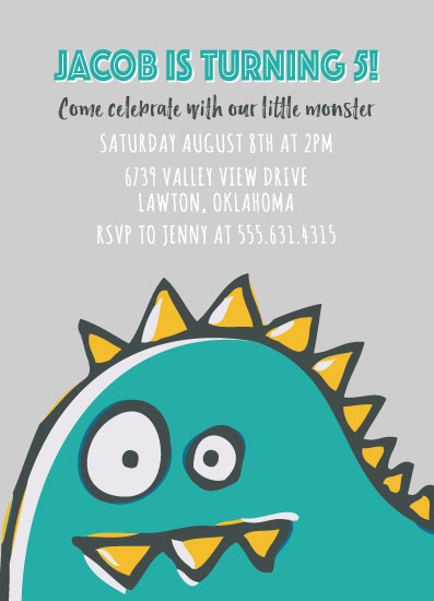 birthday party invitations - Little Monster by Shannon Mayhew