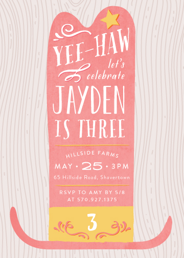 birthday party invitations - Ten Gallon Grandeur by 24th and Dune