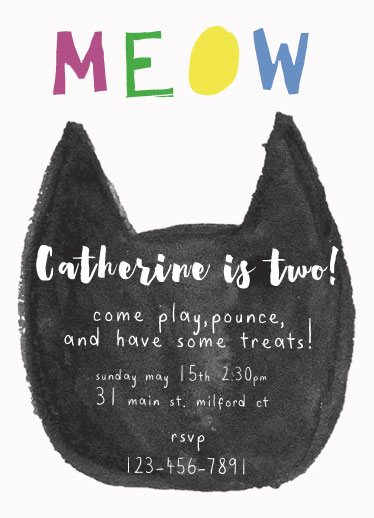 birthday party invitations - MEOW by Cat Wilcox