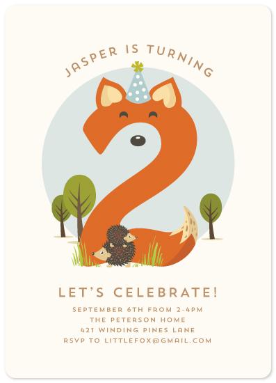 birthday party invitations - Woodland Fox by Lisa Cersovsky