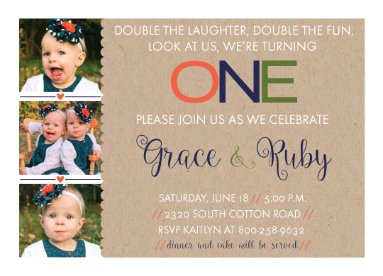 birthday party invitations - Double The Fun by Hello Ruby Grace