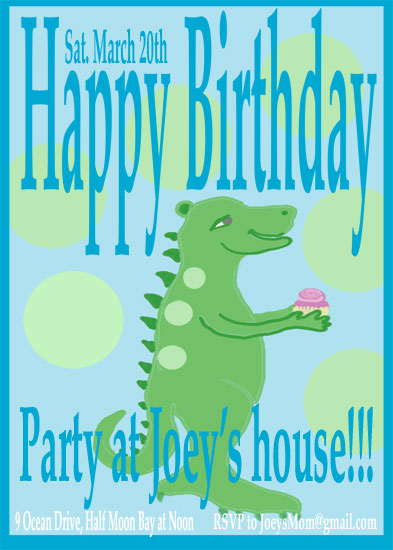 birthday party invitations - Dragon with cupcake by EllynDraws