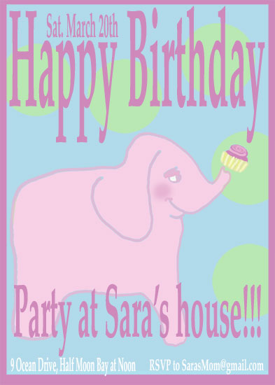birthday party invitations - Elephant with cupcake by EllynDraws