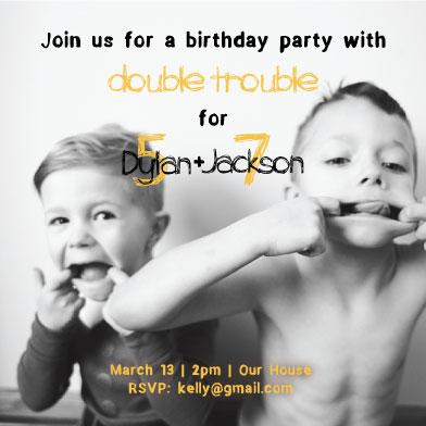birthday party invitations - Double Trouble by Dandelion Paper Co.