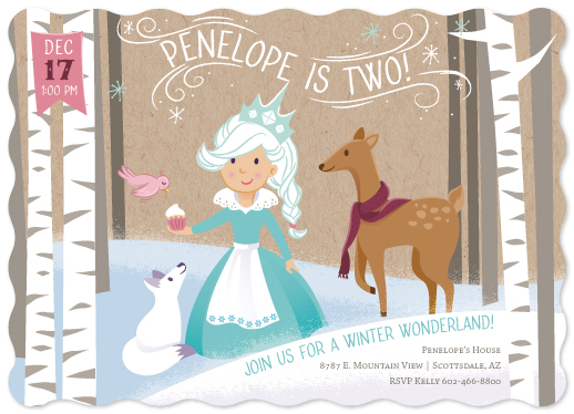 birthday party invitations - Winter Wonderland by Rhiannon Davenport