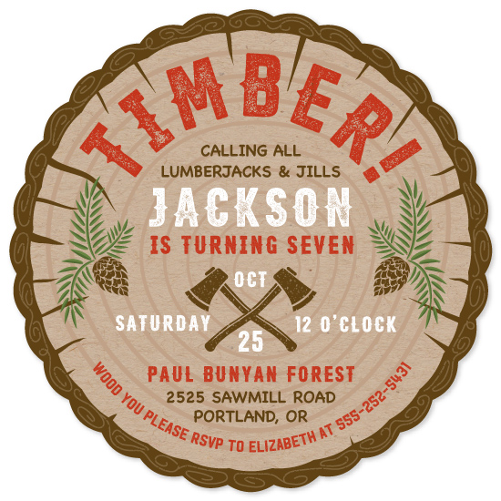 birthday party invitations - Timber! by Paper Sun Studio