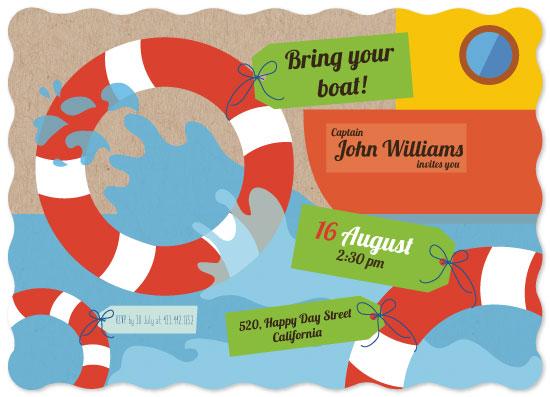 birthday party invitations - Bring your boat! by Juliana Motzko