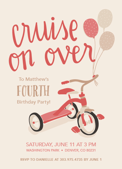 birthday party invitations - Cruise on Over by Lisa Weber
