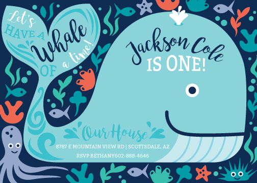 birthday party invitations - Whale of A Time by Rhiannon Davenport