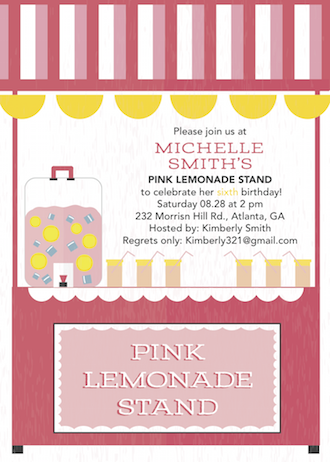 birthday party invitations - Pink Lemonade Celebration by Danielle Dorton