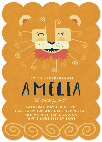 birthday party invitations - Grrreat Lion by Katie Zimpel