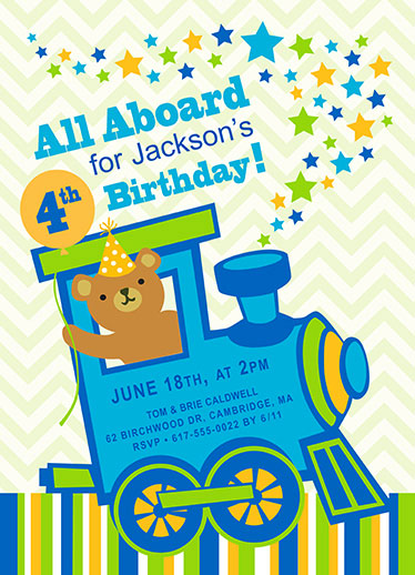 birthday party invitations - All Aboard Choo Choo by Valerie Hart