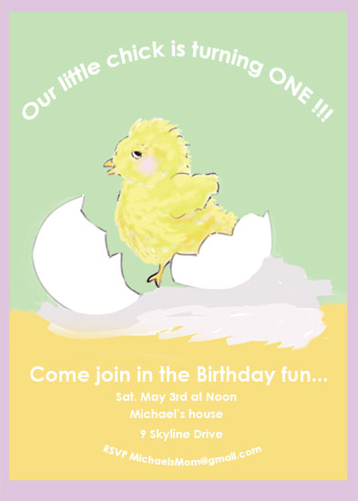 birthday party invitations - Baby chick by EllynDraws