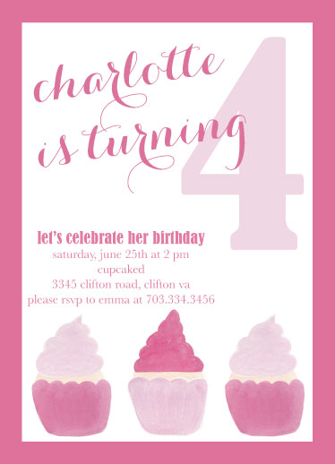 birthday party invitations - cupcaked by Pippi and Penelope
