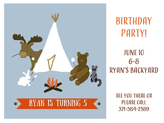 birthday party invitations - S'mores by Leslie Chalfont