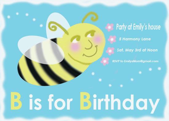 birthday party invitations - B is for birthday by EllynDraws