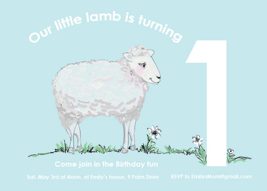 birthday party invitations - Little lamb by EllynDraws