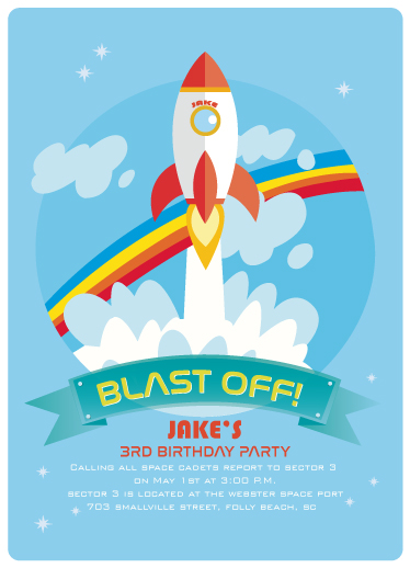 birthday party invitations - BLAST OFF by McKLi