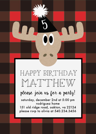 birthday party invitations - buffalo plaid by Pippi and Penelope