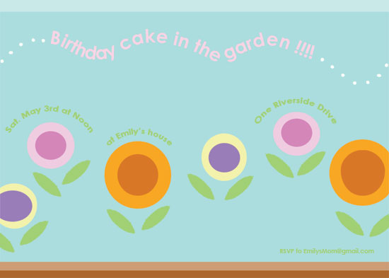 birthday party invitations - Cake in the garden by EllynDraws