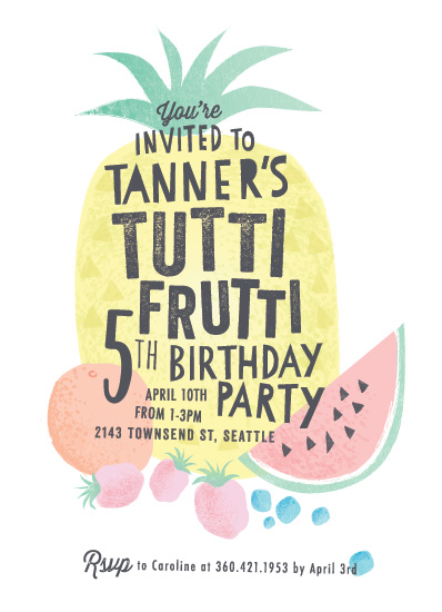 birthday party invitations - Tutti Frutti by Karidy Walker