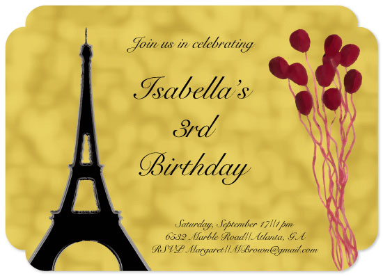 birthday party invitations - A Day in Paris by Lindsey Kelly
