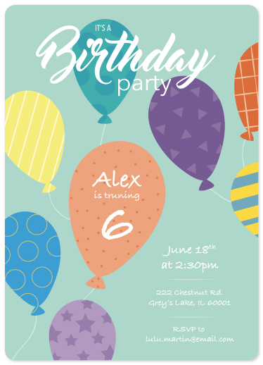 birthday party invitations - Playful Patterns by Erica Burton