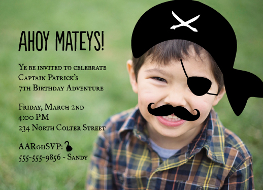 birthday party invitations - a pirates bash by ashnee eiram