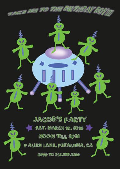 birthday party invitations - Alien Invasion by EllynDraws