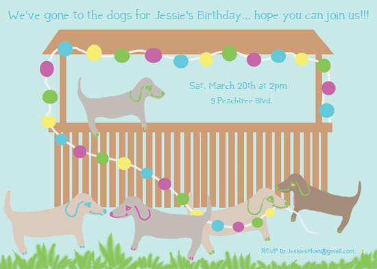 birthday party invitations - Gone to the dogs by EllynDraws