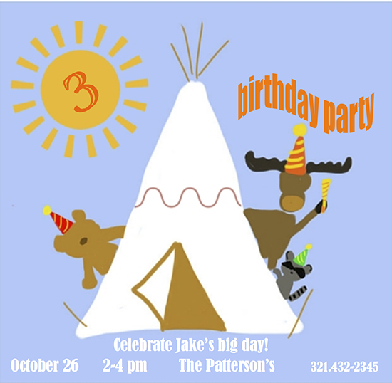 birthday party invitations - Party Pow-wow by Leslie Chalfont