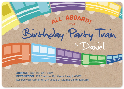 birthday party invitations - Little Party Train by Erica Burton