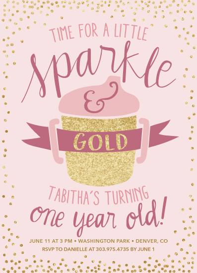 birthday party invitations - Sparkle and Gold by Lisa Weber