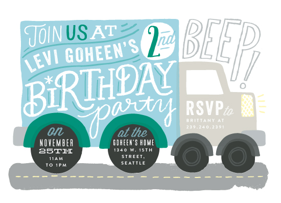 birthday party invitations - Truck Party by Alethea and Ruth