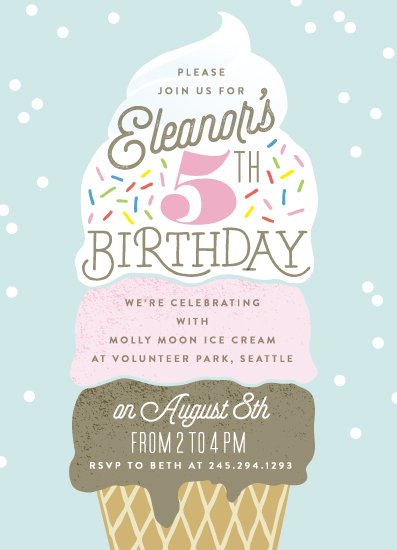 birthday party invitations - ice cream cone at minted, Party invitations
