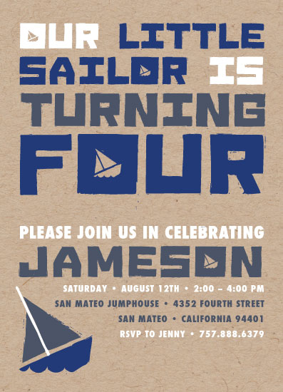 birthday party invitations - Little Sailor by Nicholas Leija