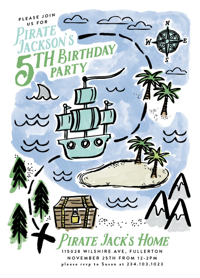 birthday party invitations - Pirate's Map by Alethea and Ruth