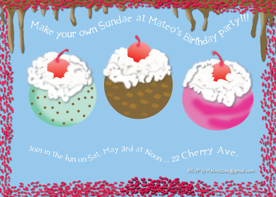 birthday party invitations - Make your own Sundae by EllynDraws