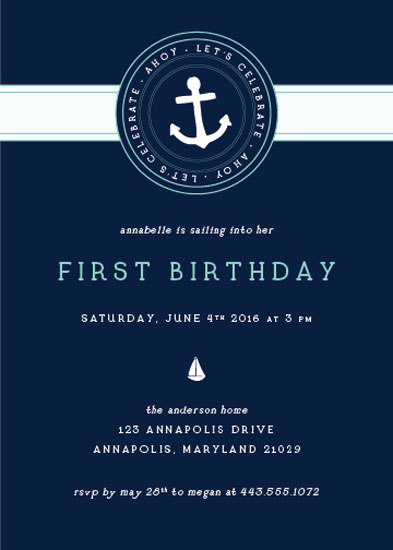 birthday party invitations - Sailing Away Birthday by Nicole Anderson