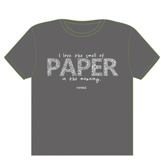 minted t-shirt design - I love the smell of paper in the morning. by The Tattered Traveler