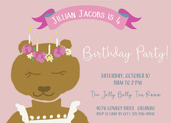 birthday party invitations - Bear Wishes by Leslie Chalfont