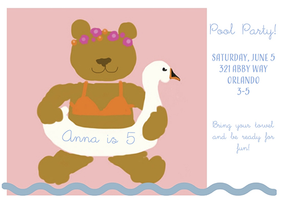 birthday party invitations - Swan Dive by Leslie Chalfont