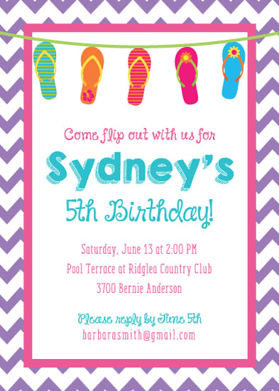 birthday party invitations - Flip Flop Time by Texas Girls