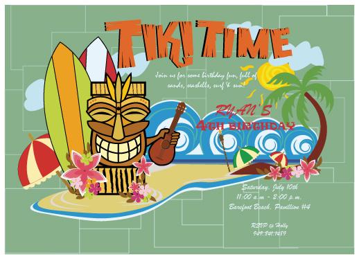 birthday party invitations - Tiki Time by McKLi