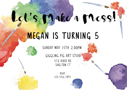 birthday party invitations - Let's Get Artsy by Cat Wilcox