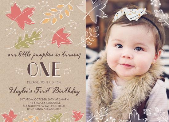 birthday party invitations - Autumn Breeze Leaves by Agi Szabo