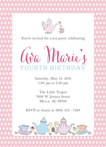 birthday party invitations - Tea Time by jellyjollyho