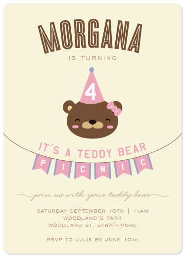birthday party invitations - Teddy Picnic by jellyjollyho